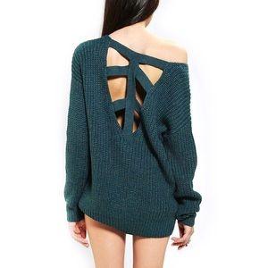 ✨ Sparkle & Fade Cross-Back Sweater sz L